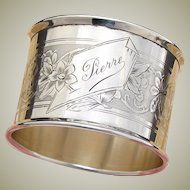 "Antique French Sterling Silver Napkin Ring, ""Pierre"", Guilloche Style Decoration"