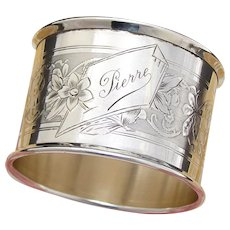 """Antique French Sterling Silver Napkin Ring, """"Pierre"""", Guilloche Style Decoration"""