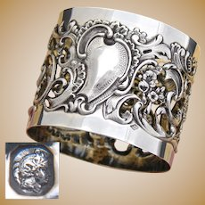 "Gorgeous Antique French Sterling Silver 2"" Napkin Ring, Ornate Reticulated Rococo Style"
