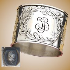 "Antique French Sterling Silver Napkin Ring, Ornate Empire Style Decoration, Interlaced ""TB"" Monogram"