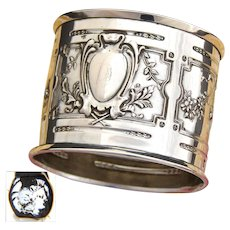 """Antique French Sterling Silver 2"""" Napkin Ring, Ornate Louis XVI or Empire Pattern"""