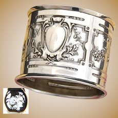 "Antique French Sterling Silver 2"" Napkin Ring, Ornate Louis XVI or Empire Pattern"