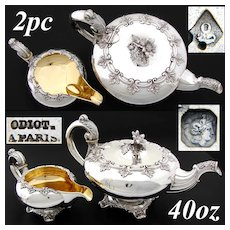 Rare Antique French ODIOT Sterling Silver Tea Pot & Creamer Pair, Exquisite!