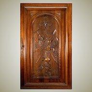 "Antique Country French HC Walnut Wood Cabinet Door w Lock, Key, 33.5"" x 23.5"""