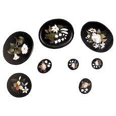Set of 8 Unmounted 19th c. Pietra Dura Mosaic Plaques, Brooch, Pentant, Earrings, Jewelry