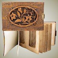 Antique Carved Wood Black Forest Photo Album, c.1870, Carte de Visite Size