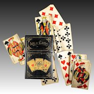 Antique French Papier Mache Playing Card Case, Box, with 30 Cards, c.1850-80