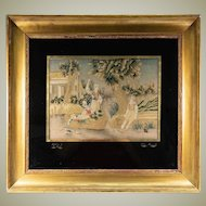 "C. 1800 Antique French Fine Silk Petitpoint Needlework Tapestry, In Frame & Eglomise Mat, 25"" x 23"""