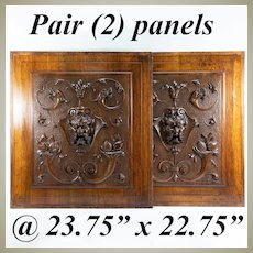 Pair (2) HC Antique French Neo-Renaissance Cabinetry Panels, Figural