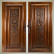 "Antique HC French Walnut Cabinet Door Pair (2), Fruit Carved, @ 29"" x 13.5"""