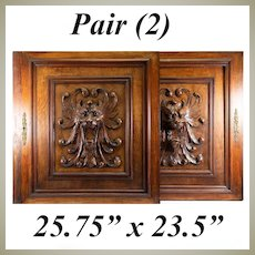 "PAIR (2) Antique HC Oak French Cabinet Doors, Figural Lion Head, Each 25.75"" x 23.5"""