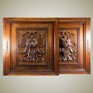 """PAIR (2) Antique HC Oak French Cabinet Doors, Figural Lion Head, Each 25.75"""" x 23.5"""""""