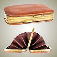 Fine Edwardian Era Leather & Brass Coin Purse, Wallet, Two-Sided with All Original Baffles