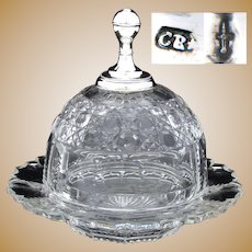 Gorgeous Antique Dutch Sterling Silver & Wheel Cut Crystal Cheese Dome & Under Tray