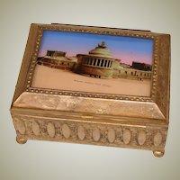 Antique Eglomise & Gilt Metal Cigarette Box, Casket: Entrance Soldiers Field Chicago, Expo Souvenir