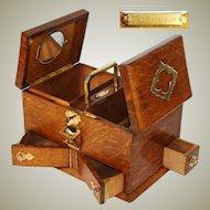 Antique Edwardian Era Oak & Gothic Style Brass Smoker's Box, Humidor, Unique