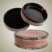 "Antique Napoleon III Era French Table Snuff Box, Gold Pique in Leather 3 1/8"" Diameter"