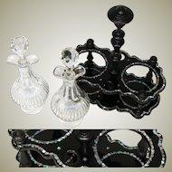 Elegant Antique Napoleon III Papier Mache & Pearl Cruet Stand, Wheel Cut Decanters