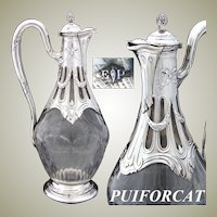 Antique French PUIFORCAT Sterling Silver & Intaglio Glass Claret Jug, Empire Style