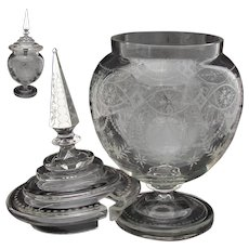 "Elegant Antique Dutch Sterling Silver & Intaglio Etched Glass 16.5"" Tall Juice or Punch Bowl"
