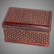 "Fine Antique Gold Embossed Leather Specimen Box, ""Booklovers Shop Cleveland"""