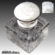"""Massive Antique American Brilliant Cut Crystal & Sterling Silver 5.5"""" Inkwell, 5 lbs !"""