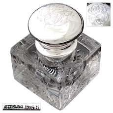 "Massive Antique American Brilliant Cut Crystal & Sterling Silver 5.5"" Inkwell, 5 lbs !"