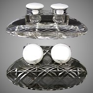"Rare HUGE & Elegant Antique English Sterling Silver & Cut Crystal 8.5"" Double Inkwell"