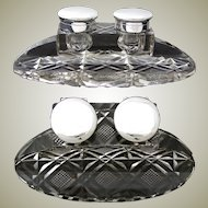 """Rare HUGE & Elegant Antique English Sterling Silver & Cut Crystal 8.5"""" Double Inkwell"""