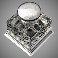 "Antique American Brilliant Cut Crystal & Sterling Silver 4.5"" Inkwell, Bailey Banks & Biddle"
