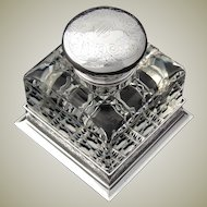"""Antique American Brilliant Cut Crystal & Sterling Silver 4.5"""" Inkwell, Bailey Banks & Biddle"""