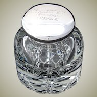 """Rare Antique English Sterling Silver & Cut Crystal 4.5"""" Inkwell, """"Puppy Show"""" Award"""