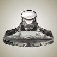 "Large Antique .830 (nearly sterling) Silver and Cut Glass 6"" Captain's Style Inkwell with Pen Tray"