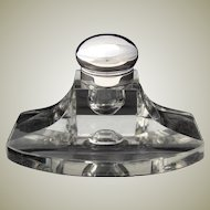 """Large Antique .830 (nearly sterling) Silver and Cut Glass 6"""" Captain's Style Inkwell with Pen Tray"""