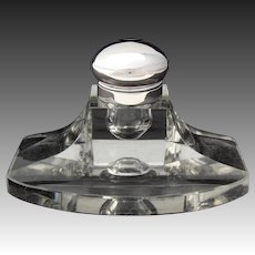 "Large Antique .830 (nearly sterling) Silver & Cut Glass 6"" Captain's Style Inkwell with Pen Tray"