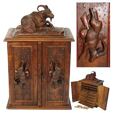"Antique Black Forest Carved 15"" Cigar Humidor Style Presenter, Cabinet, Hunt Figures"