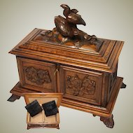 Large Antique Black Forest Carved Double Well Tea Caddy, Figural Bird Grouping, Wonderful Condition