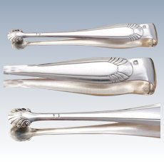 Elegant Antique French Sterling Silver Sugar Tongs, Art Deco Style Seashells