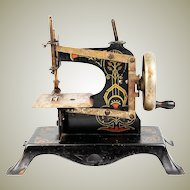 """Antique 7"""" Tall Toy or Child's Working Sewing Machine, Hand Painted, c.1850s"""