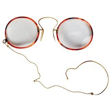 Antique 14k and 18k Gold Edwardian Spectacles, Pince-Nez with chain and Ear Hook, Unique