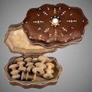 Antique French Sewing Box, Purse, Leather & MOP Cabochons, 6 Wood Double Silk Spools