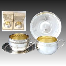 PAIR of Antique French Sterling Silver Full Sized Chocolate or Tea Cup & Saucer Set, 4pc, Orig. Boxes