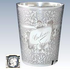 "Antique French Sterling Silver Wine or Mint Julep Cup, Tumbler or Timbale, Guilloche Style, ""Celine"""