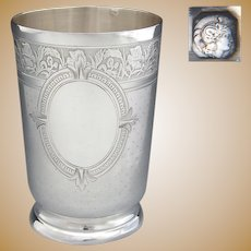 Large Antique French Sterling Silver Wine or Mint Julep Cup, Tumbler or Timbale, Guilloche Style