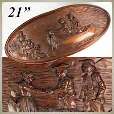 Charming Vintage 1933 Marked Black Forest Style Carved Wood Tray, Figural Plaque