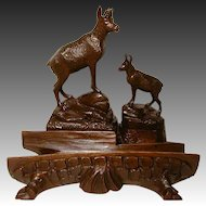 """Large Antique Black Forest Figural 9"""" Desk Top Inkwell, Stamps Box, Two Chamois Figures"""