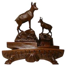 "Large Antique Black Forest Figural 9"" Desk Top Inkwell, Stamps Box, Two Chamois Figures"