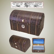 Superb Antique French Tooled Leather Stationery or Desk Box, Casket, Pearl Accents