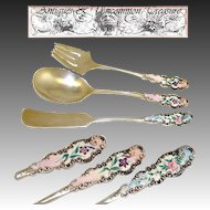 Lovely Antique 3pc Flatware Set, Sterling Silver with Enamel Handles
