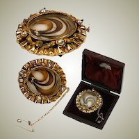 Antique Victorian Era French Hair Art Brooch, 18K Gold in Dome Box